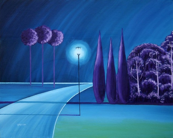 Reserve for Jerrita Night in Hamptons Moon Lake Surreal landscapes Oil on Canvas