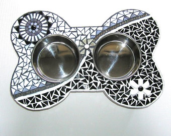 Medium Elevated Dog Feeder, Mod Mosaic Diner, Raised Dog Bowls, Couture Dog Station, Gifts for Dogs, Pet Home Decor