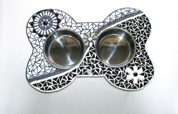 Elevated Dog Feeder, Mod Mosaic Diner, Raised Dog Bowls, Couture Dog Station, Gifts for Dogs, Pet Home Decor