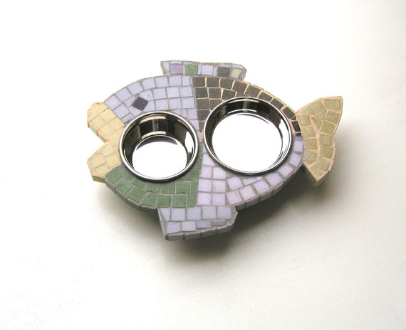 Multi-Colored Mosaic Fish Diner, mosaic cat feeder, elevated dog or cat bowls