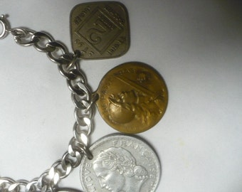 Vintage Ladies Coin Charm Bracelet Sterling 1937 1945 1918