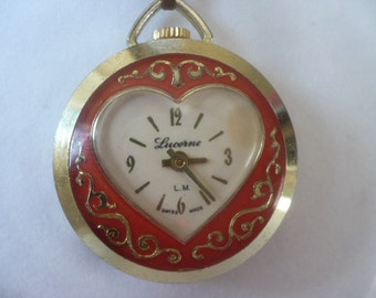 Ladies Heart Pendent Watch Valentines Day Red Lucerne