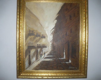 Vintage Art Oil Painting with Frame 1943-1963 Era