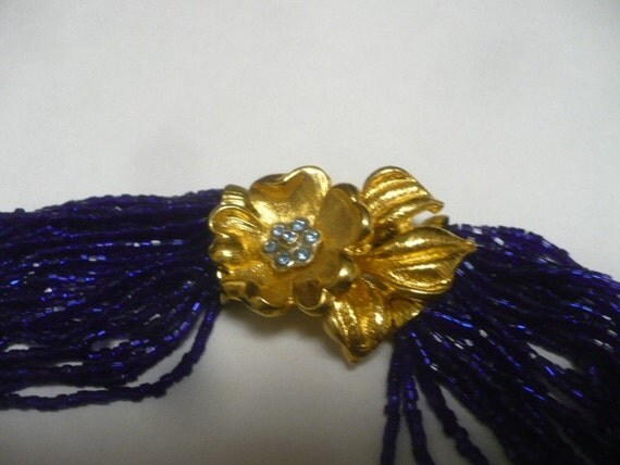 Vintage Ladies Necklace Glass Seed Bead Multi Strand