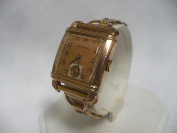 Reserved for Meg Mens Watch Art Deco Gold Rose Link Band