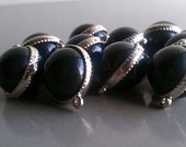 SALE-Jet Black Colored Connectors/Beads 10pcs