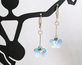 Aquamarine Blue Swarovski Crystal Flower Earrings