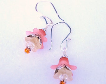 Peach and Yellow Bell Flower Earrings with Sterling Silver Earwires