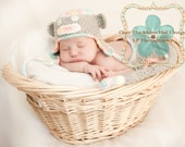 Newborn Sock Monkey Hat and Diaper cover set with detachable tail