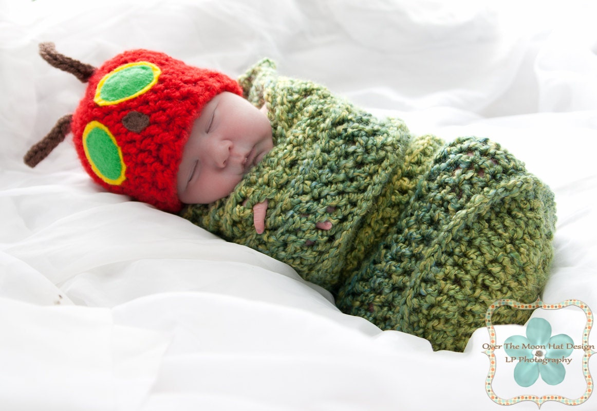 Hungry Caterpillar Baby Knitting Pattern : The very Hungry Caterpillar Hat and Cocoon set