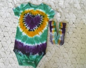 "SALE!!  Tie dye 18 month one-piece and socks - I ""heart"" the Mardi Gras - CLEARANCE!!!"