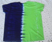 """Tie dye women's style Large and 2XL shirt available for immediate shipment-  """"Half 'n Half"""" - Seattle Seahawks Fans!"""