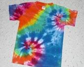 Tie dye youth medium shirt 12-color rainbow double spiral