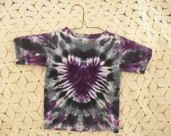 Tie dye 2 Toddler shirt with a purple, black, grey heart, 200
