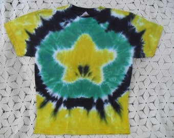 Tie dye shirt  Youth Large - Star of dragon green, banana, and black