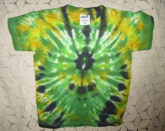 SALE!!  Tiedye Youth Extra Small tshirt - Swirled in greens, yellows, and black