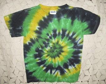 Tie dye Youth XS shirt in crayon green, black, and banana