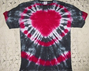 Tie dye tshirt - Heart of fuchsia and black-  Adult small ready to ship today