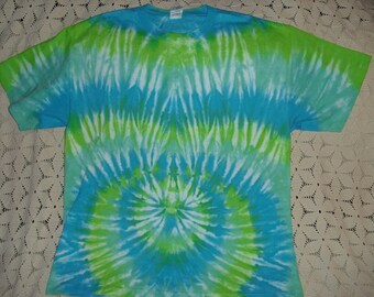 "Tie dye XL shirt  ""Baby Bump"" in greens and blues- ""It's a boy!!  350"