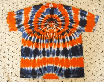 Tie dye adult medium shirt Spider of blues, black, and orange by Briar- 350