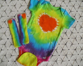 Tie dye 18 month bodysuit and socks - NEON RAINBOW with an orange HEART, 200