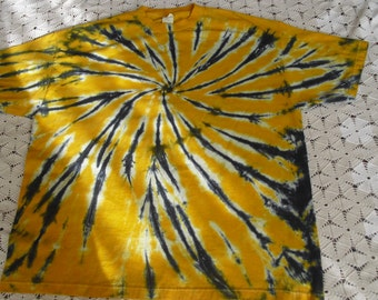 Tie dye 2X shirt -  Swirl in gold and black