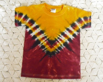 Tie dye Youth Extra Small shirt V-Tracked in gold, black, and burgundy maroon