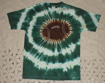 Tie dye Adult Medium shirt-  Hunter green Football, 225