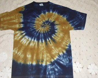 Tie dye adult medium shirt Spiral of navy and gold- Other sizes available, too!