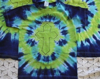 SALE - Tie dye Christian cross shirt Adult XL, Ready to ship - CLEARANCE 250