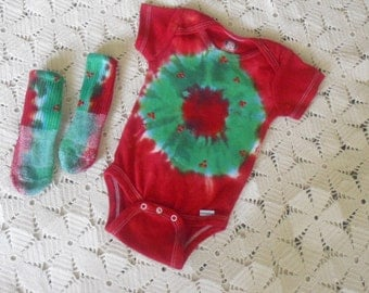 Tie dye 6-9 month bodysuit and socks - CHRISTMAS WREATH by Bri's Tie Dyes, 275
