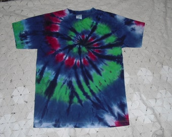 Tie dye Youth Large shirt Spiral of greens, blues, and a twist of fuchsia