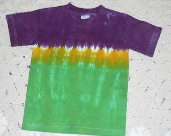Tie dye youth small shirt Mardi Gras track of purple, green, and gold