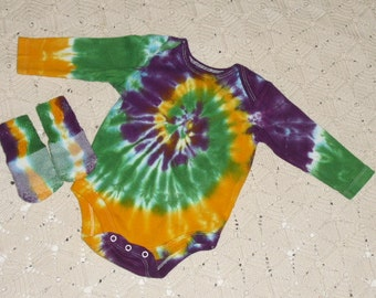 Tie dye one-piece and socks- Mardi Gras Special- Made to order, some sizes ready to ship TODAY- 600