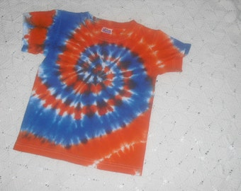Tie dye Youth extra small shirt Blue and Orange Spiral