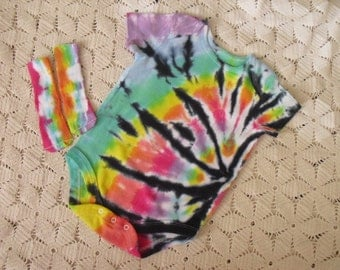 Tie dye 12 month one-piece and socks - Pastel Rainbow with a twist of black
