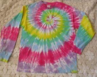 Tie dye adult medium long sleeved Pastel Rainbow Easter Springtime