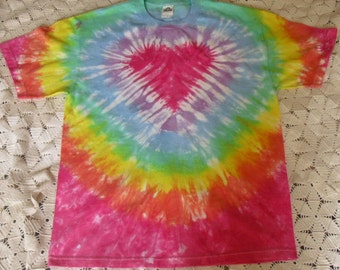 Tie dye Pastel Rainbow Heart shirt-  Sizes from Small to 6XL available!  250