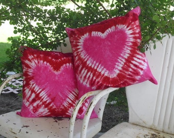 Tie dye designer decor throw pillow covers - Heart!  You pick the color(s) and size- Will be shipped within a week! , 450