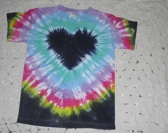 Tie dye Youth medium shirt is ready to ship today- Pastel rainbow heart
