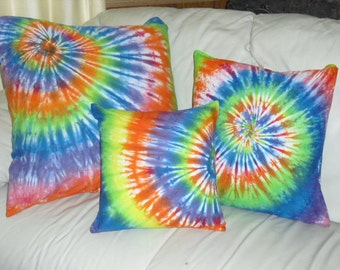 Tie dye pillow covers, decorator designer rainbow spiral (3 different sizes)- will be custom dyed and shipped within a week- 400