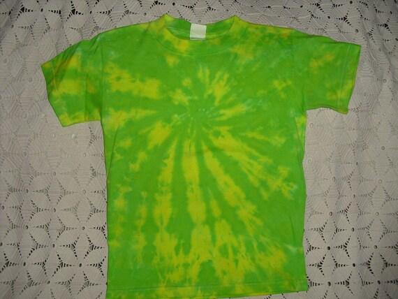 Tie dye shirt, Medium Youth, swirl of lemon and lime
