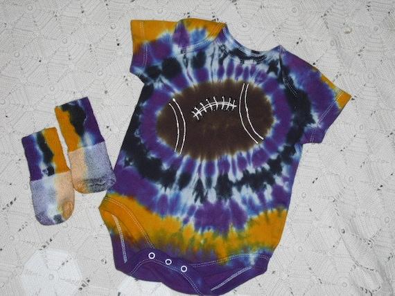 Tie dye 3-6 month onsie and socks LSU Football of purple, gold, and black