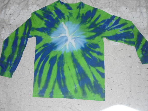 """SALE  Tie dye adult small long sleeved shirt- """"Don't crack the ice"""" in cerulean and lime SALE"""