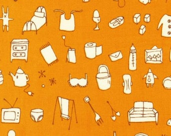 Fabric 1 Yard MUMMYSAM A Day in the Life Kaufman HOUSEHOLD Objects ORANGE Quilting Sewing