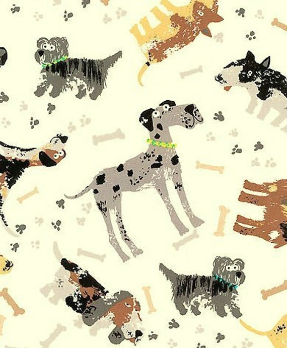 "Fabric 27"" Piece Last One - Puppy Dog DOGS Khaki Grey Black Canine Pet Paw Prints Timeless Treasures"