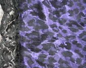 Asymmetrical Metallic Violet Purple & Black Leopard Print Scarf/Shawl with Black Lace Trim