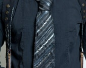 Stripes, Studs, & Leather Neck Tie Black Silver Grey Steampunk