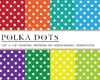 """Polka Dots Digital Scrapbook Paper Pack - 8 Papers - 300 DPI - 12"""" x 12"""""""