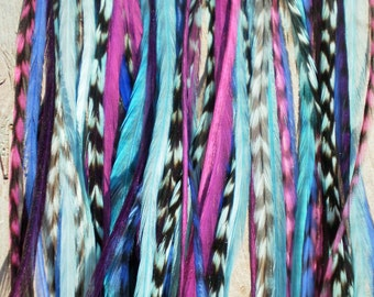 Feather Hair Extension- LONG 5 feather 5 dollars. purple turquoise blue